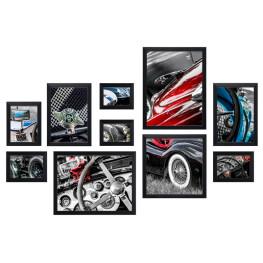 Bilderwand CARS mit 10 Bilderrahmen Schwarz